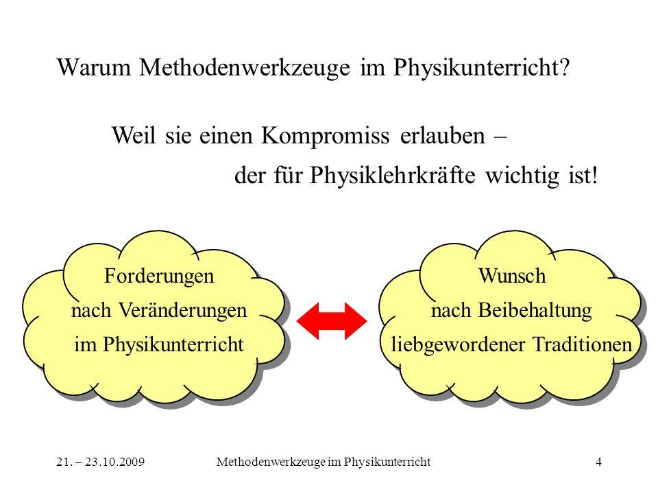 21. – 23.10.2009Methodenwerkzeuge im Physikunterricht4 Warum Methodenwerkzeuge im Physikunterricht? Weil sie einen Kompromiss erlauben – der für Physi