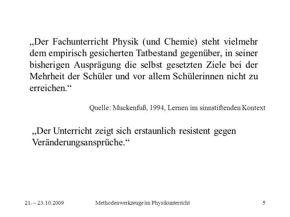 21. – 23.10.2009Methodenwerkzeuge im Physikunterricht5 Quelle: Muckenfuß, 1994, Lernen im sinnstiftenden Kontext Der Fachunterricht Physik (und Chemie