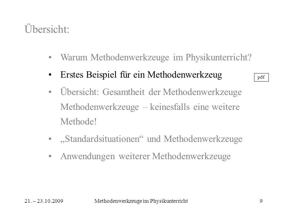 21. – 23.10.2009Methodenwerkzeuge im Physikunterricht9 Übersicht: Warum Methodenwerkzeuge im Physikunterricht? Erstes Beispiel für ein Methodenwerkzeu