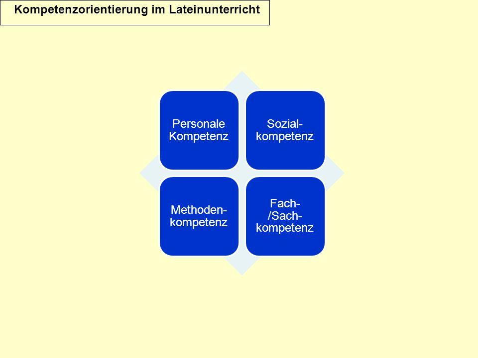 Kompetenzorientierung im Lateinunterricht Personale Kompetenz Sozial- kompetenz Methoden- kompetenz Fach- /Sach- kompetenz