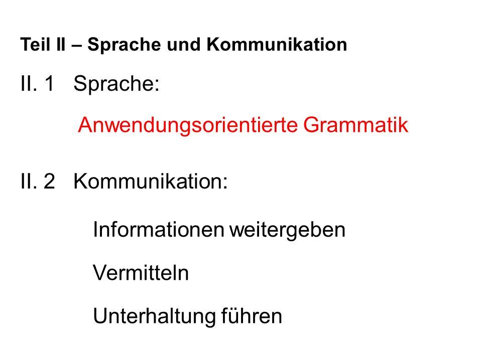 II.1 Sprache: Teil II – Sprache und Kommunikation II.