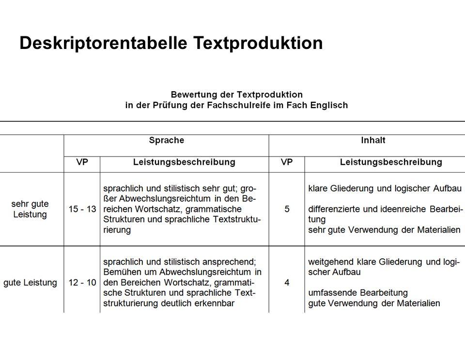 Deskriptorentabelle Textproduktion
