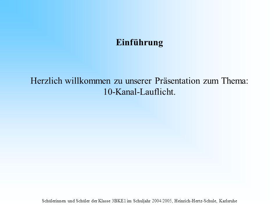 Schülerinnen und Schüler der Klasse 3BKE1 im Schuljahr 2004/2005, Heinrich-Hertz-Schule, Karlsruhe Einführung Herzlich willkommen zu unserer Präsentat