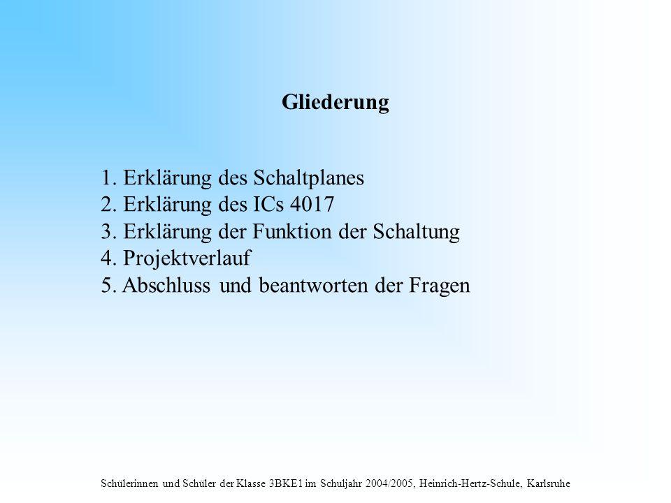 Schülerinnen und Schüler der Klasse 3BKE1 im Schuljahr 2004/2005, Heinrich-Hertz-Schule, Karlsruhe Gliederung 1. Erklärung des Schaltplanes 2. Erkläru