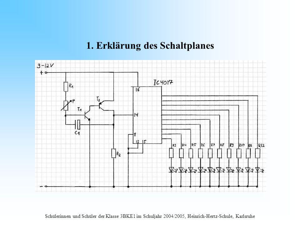 Schülerinnen und Schüler der Klasse 3BKE1 im Schuljahr 2004/2005, Heinrich-Hertz-Schule, Karlsruhe 1. Erklärung des Schaltplanes