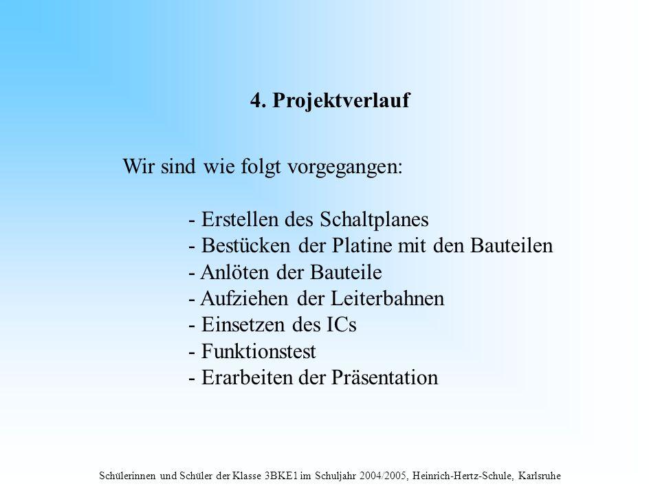 Schülerinnen und Schüler der Klasse 3BKE1 im Schuljahr 2004/2005, Heinrich-Hertz-Schule, Karlsruhe 4. Projektverlauf Wir sind wie folgt vorgegangen: -