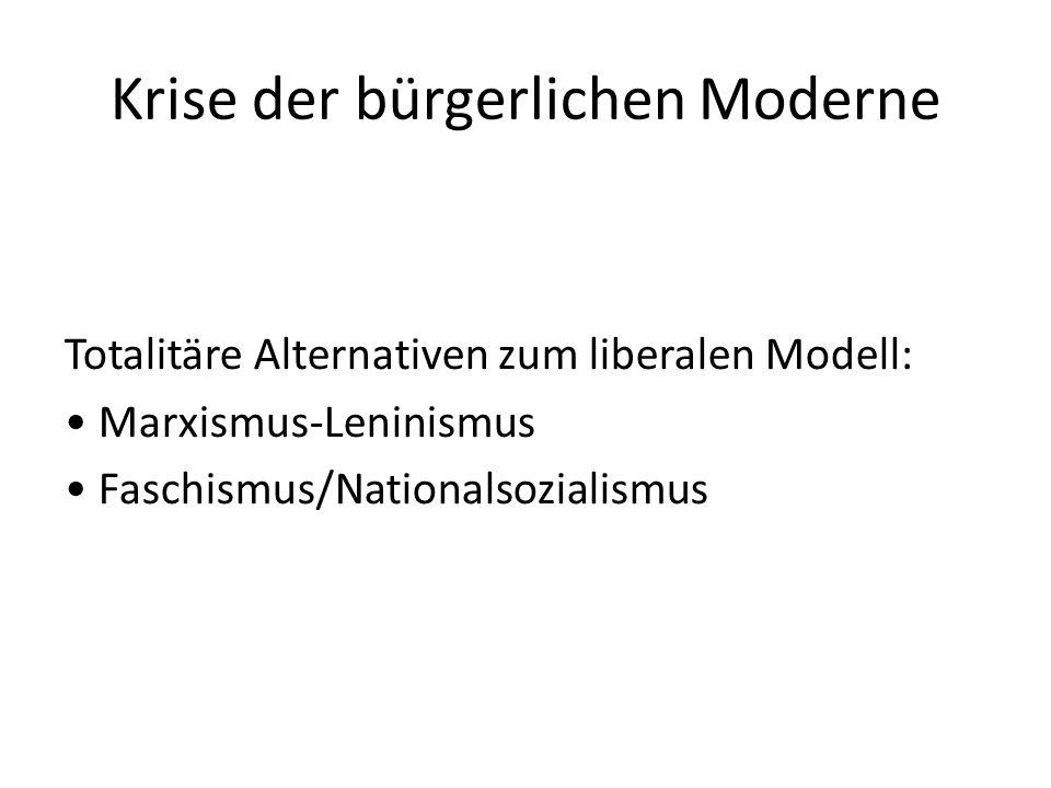 Krise der bürgerlichen Moderne Totalitäre Alternativen zum liberalen Modell: Marxismus-Leninismus Faschismus/Nationalsozialismus