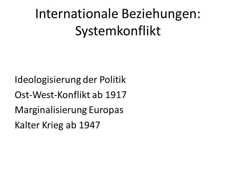 Internationale Beziehungen: Systemkonflikt Ideologisierung der Politik Ost-West-Konflikt ab 1917 Marginalisierung Europas Kalter Krieg ab 1947