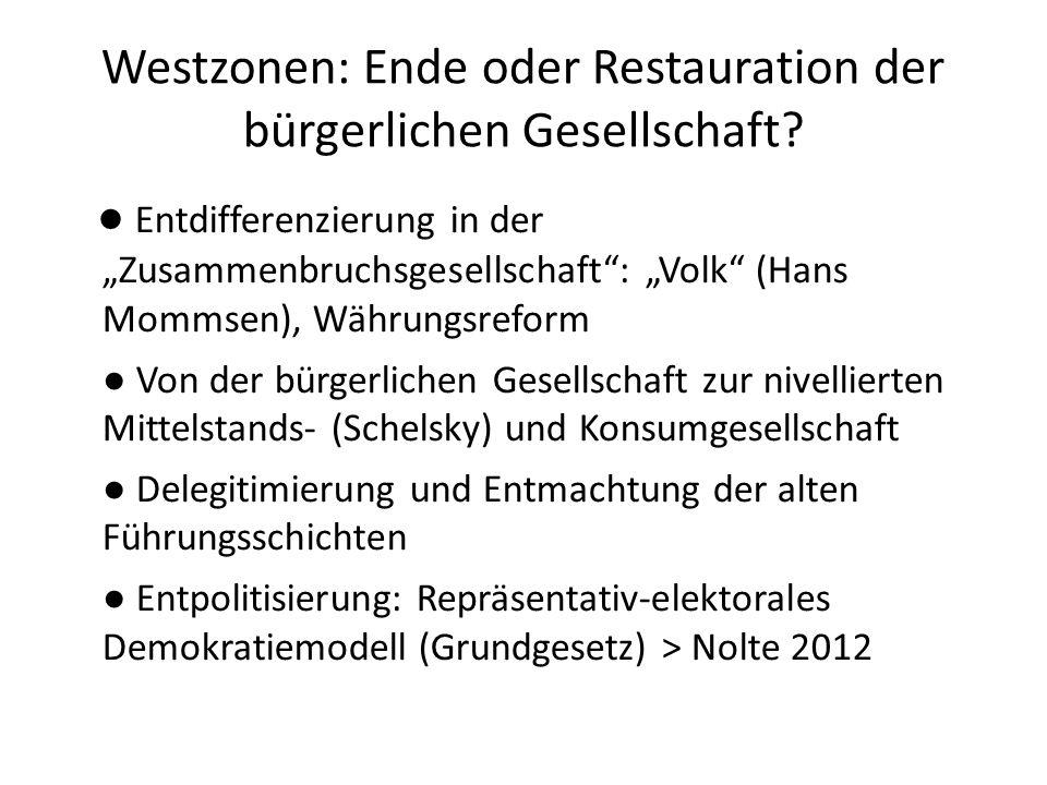 Westzonen: Ende oder Restauration der bürgerlichen Gesellschaft? Entdifferenzierung in der Zusammenbruchsgesellschaft: Volk (Hans Mommsen), Währungsre
