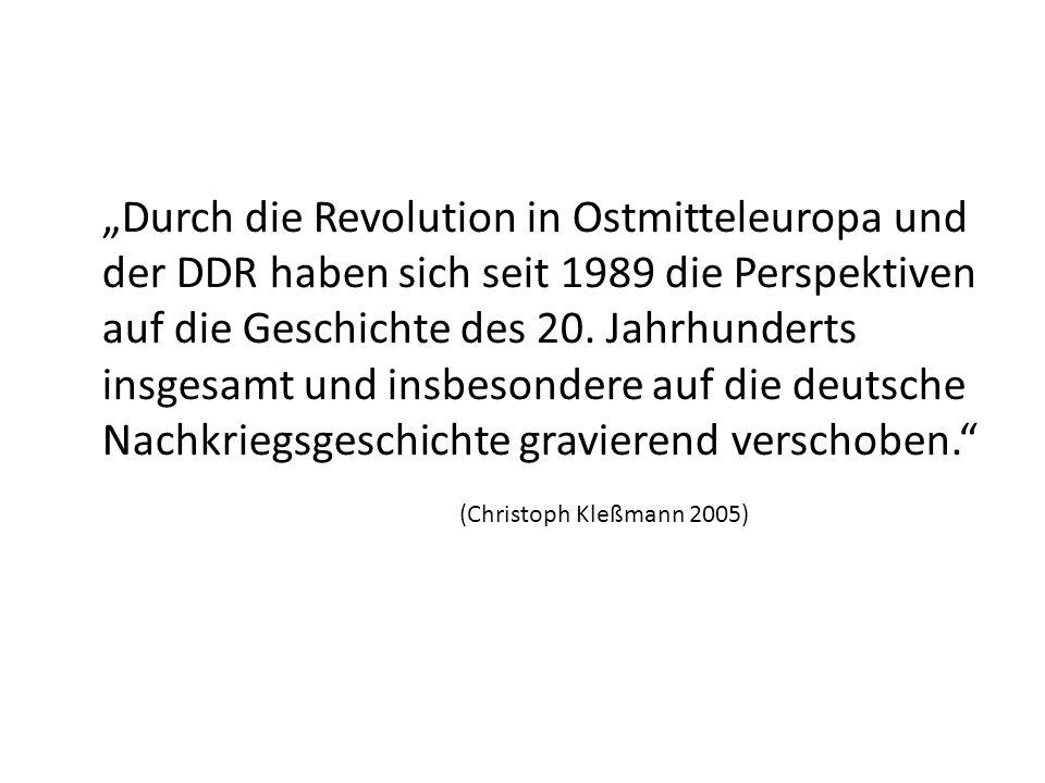 Durch die Revolution in Ostmitteleuropa und der DDR haben sich seit 1989 die Perspektiven auf die Geschichte des 20. Jahrhunderts insgesamt und insbes