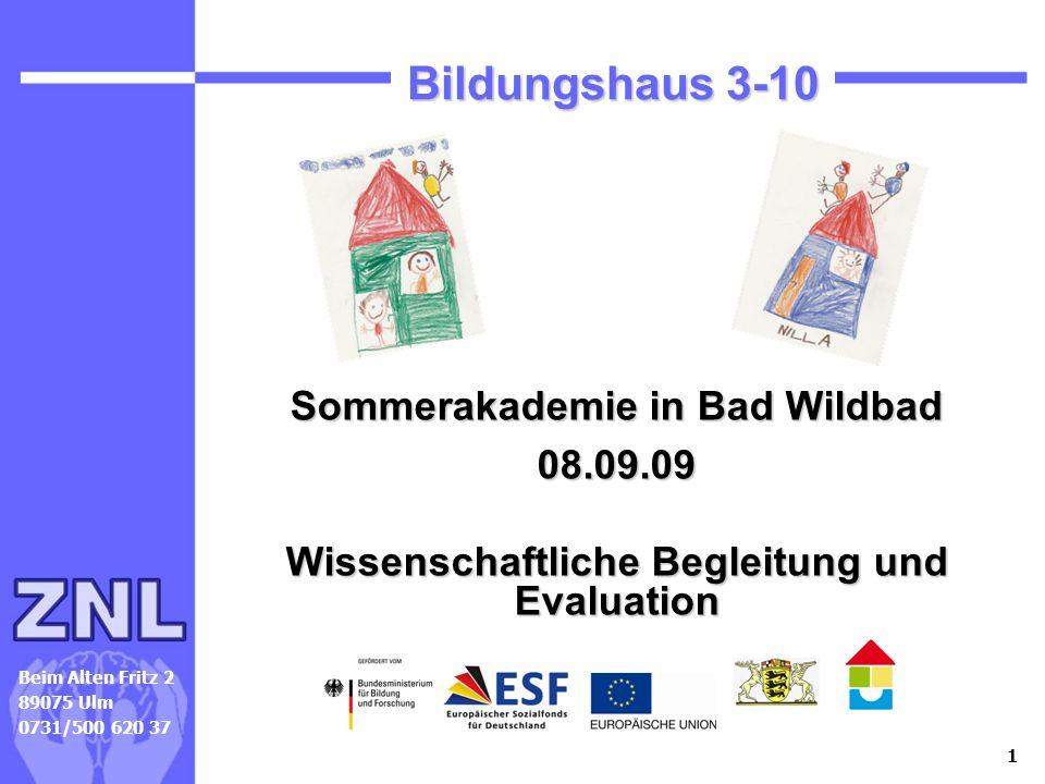 1 Beim Alten Fritz 2 89075 Ulm 0731/500 620 37 Bildungshaus 3-10 Sommerakademie in Bad Wildbad 08.09.09 Wissenschaftliche Begleitung und Evaluation Mi