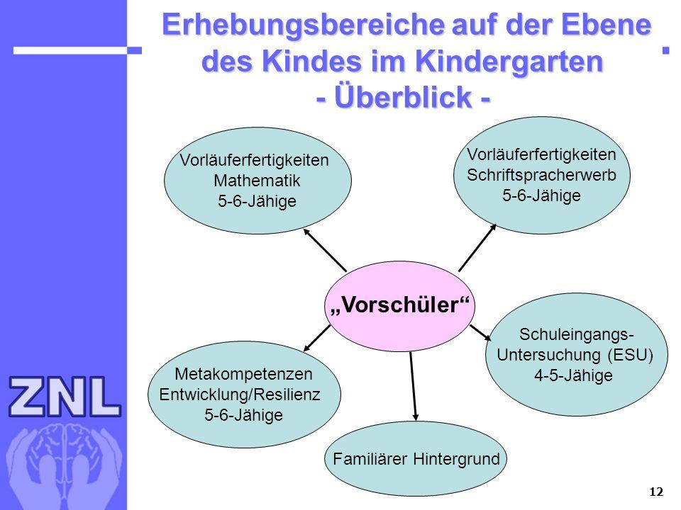 12 Erhebungsbereiche auf der Ebene des Kindes im Kindergarten - Überblick - Erhebungsbereiche auf der Ebene des Kindes im Kindergarten - Überblick - V