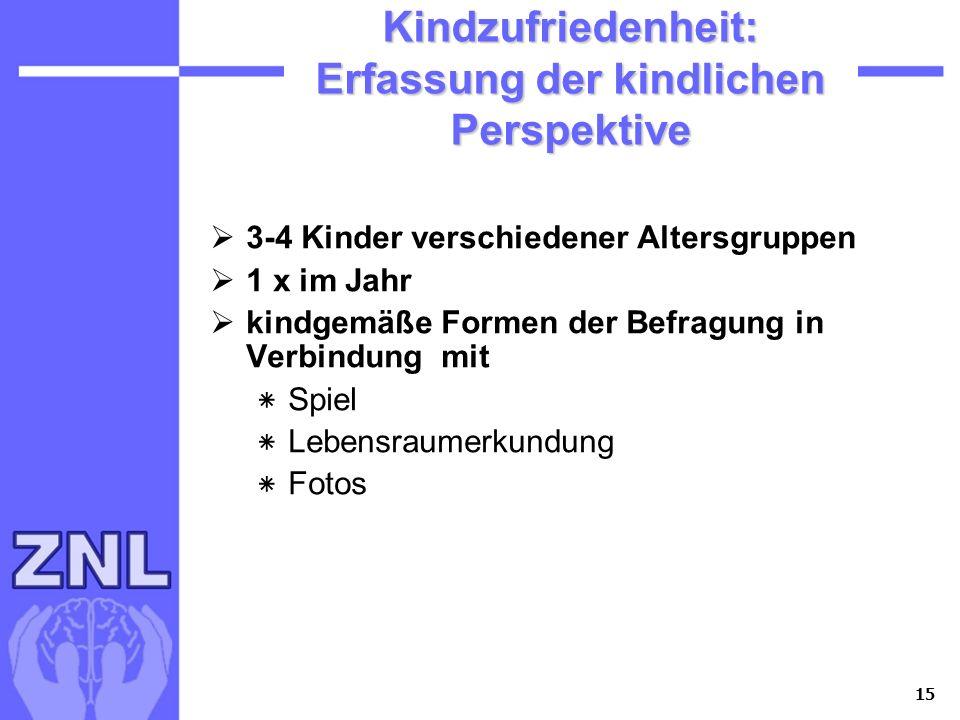 15 Kindzufriedenheit: Erfassung der kindlichen Perspektive 3-4 Kinder verschiedener Altersgruppen 1 x im Jahr kindgemäße Formen der Befragung in Verbi