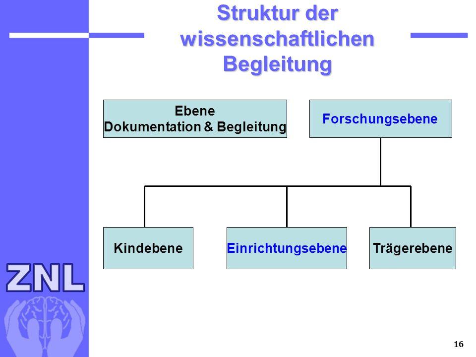 16 Struktur der wissenschaftlichen Begleitung Ebene Dokumentation & Begleitung Forschungsebene Ebene Dokumentation & Begleitung Forschungsebene Kindeb