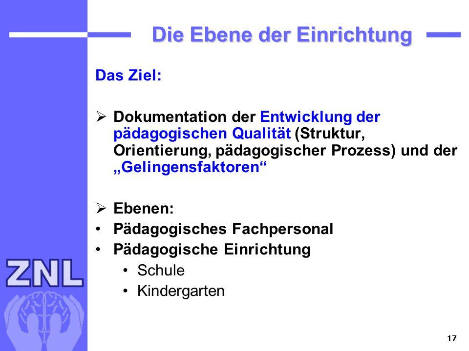 17 Die Ebene der Einrichtung Die Ebene der Einrichtung Das Ziel: Dokumentation der Entwicklung der pädagogischen Qualität (Struktur, Orientierung, päd