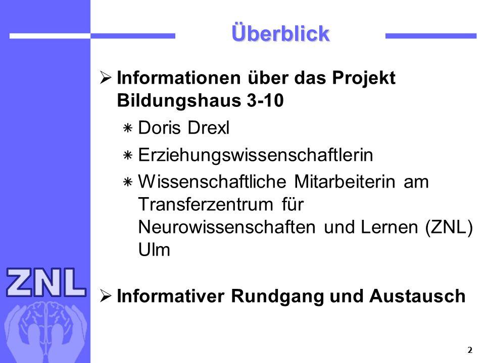 2 Überblick Informationen über das Projekt Bildungshaus 3-10 ٭ Doris Drexl ٭ Erziehungswissenschaftlerin ٭ Wissenschaftliche Mitarbeiterin am Transfer