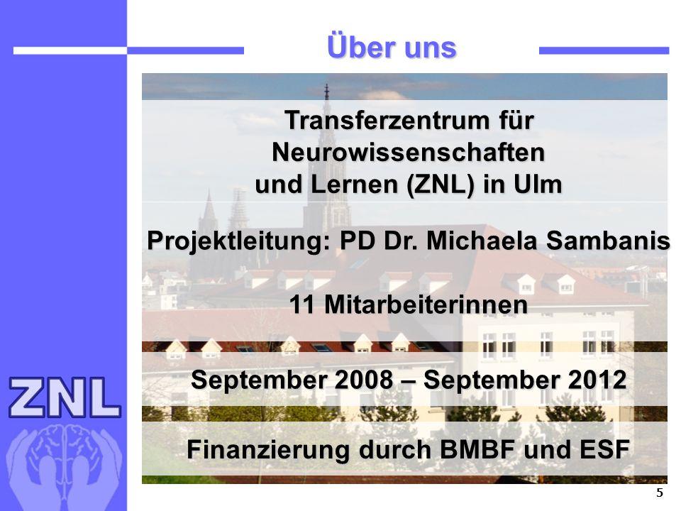 5 Über uns Transferzentrum für Neurowissenschaften und Lernen (ZNL) in Ulm Projektleitung: PD Dr. Michaela Sambanis 11 Mitarbeiterinnen September 2008