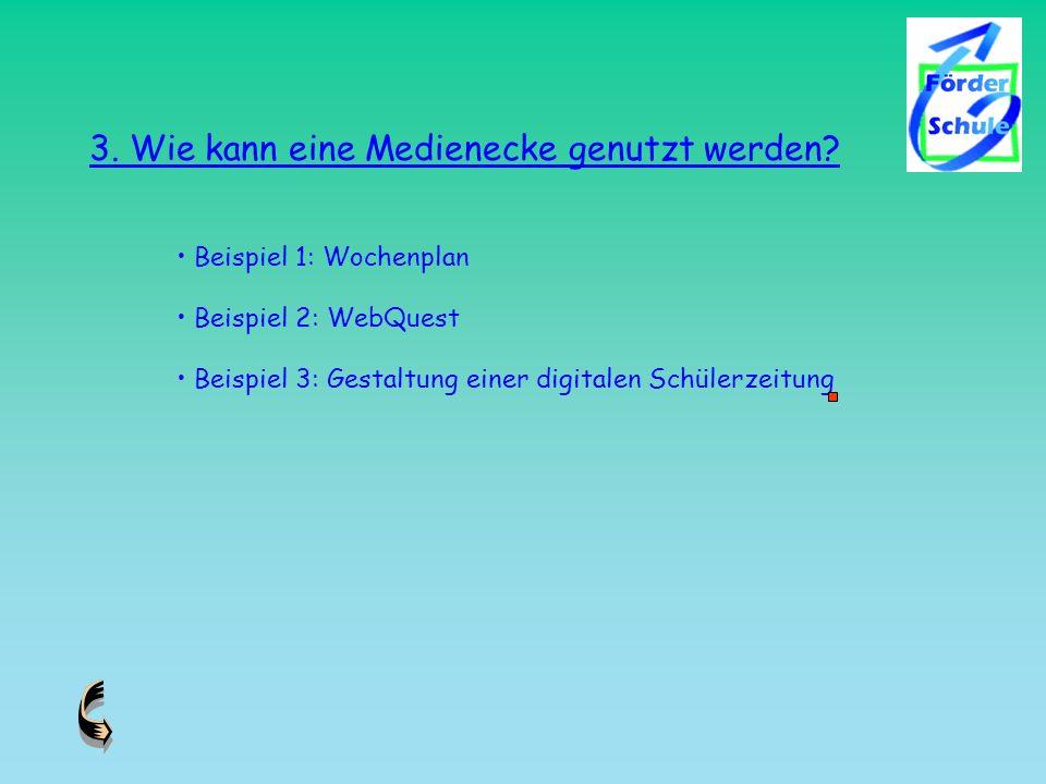 3. Wie kann eine Medienecke genutzt werden? Beispiel 1: Wochenplan Beispiel 2: WebQuest Beispiel 3: Gestaltung einer digitalen Schülerzeitung