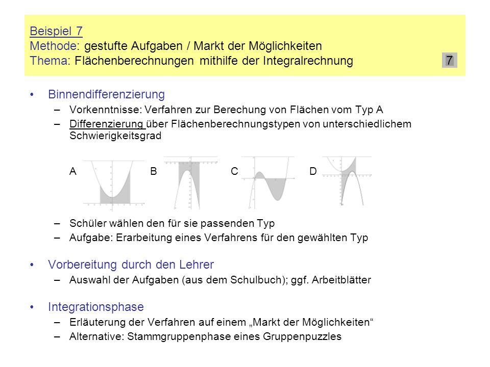 Beispiel 7 Methode: gestufte Aufgaben / Markt der Möglichkeiten Thema: Flächenberechnungen mithilfe der Integralrechnung Binnendifferenzierung –Vorken