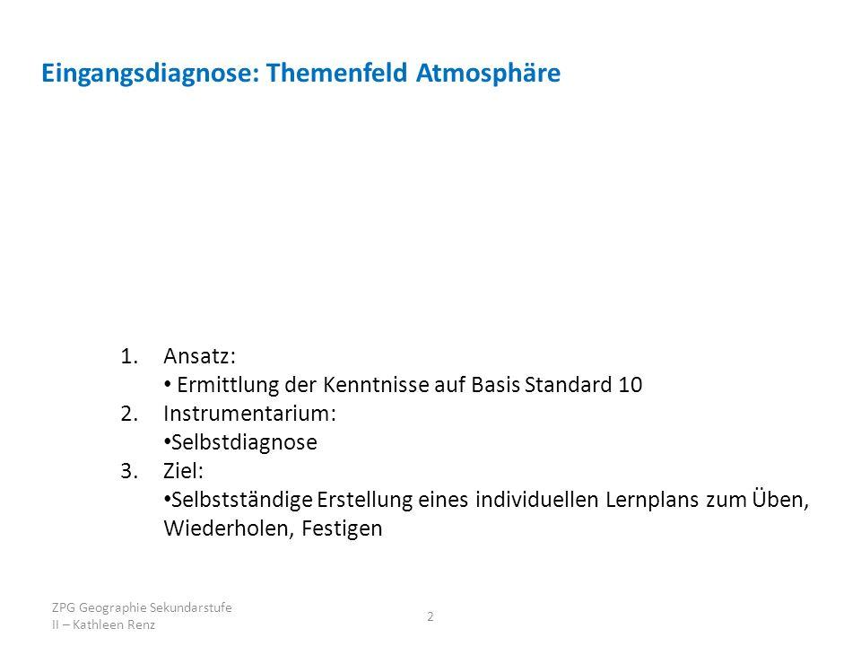 2 Eingangsdiagnose: Themenfeld Atmosphäre 1.Ansatz: Ermittlung der Kenntnisse auf Basis Standard 10 2.Instrumentarium: Selbstdiagnose 3.Ziel: Selbstständige Erstellung eines individuellen Lernplans zum Üben, Wiederholen, Festigen