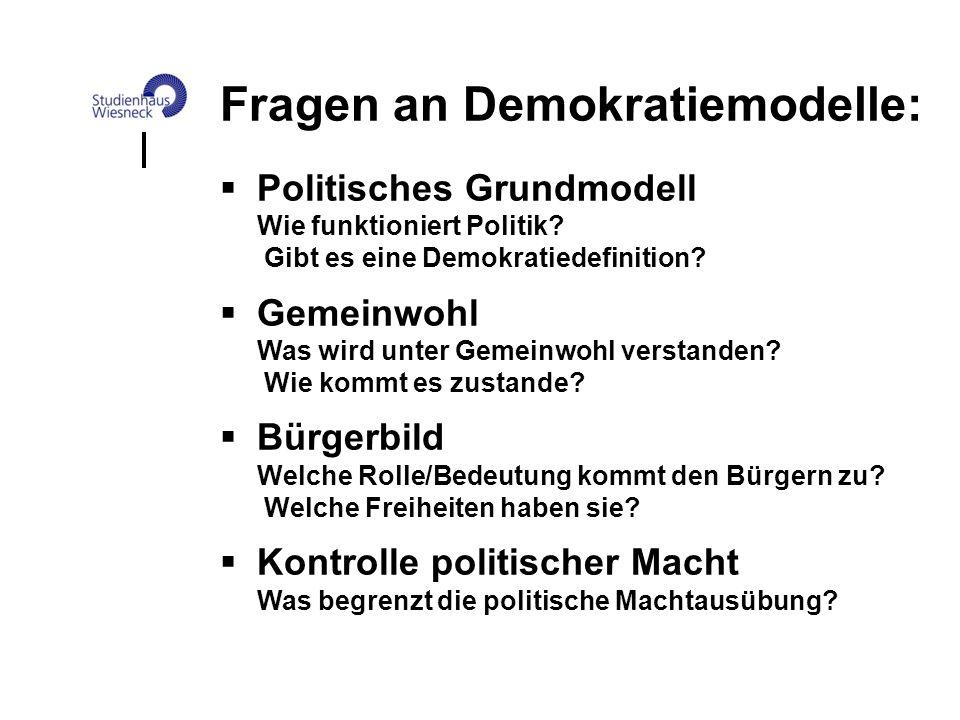 Fragen an Demokratiemodelle: Politisches Grundmodell Wie funktioniert Politik? Gibt es eine Demokratiedefinition? Gemeinwohl Was wird unter Gemeinwohl