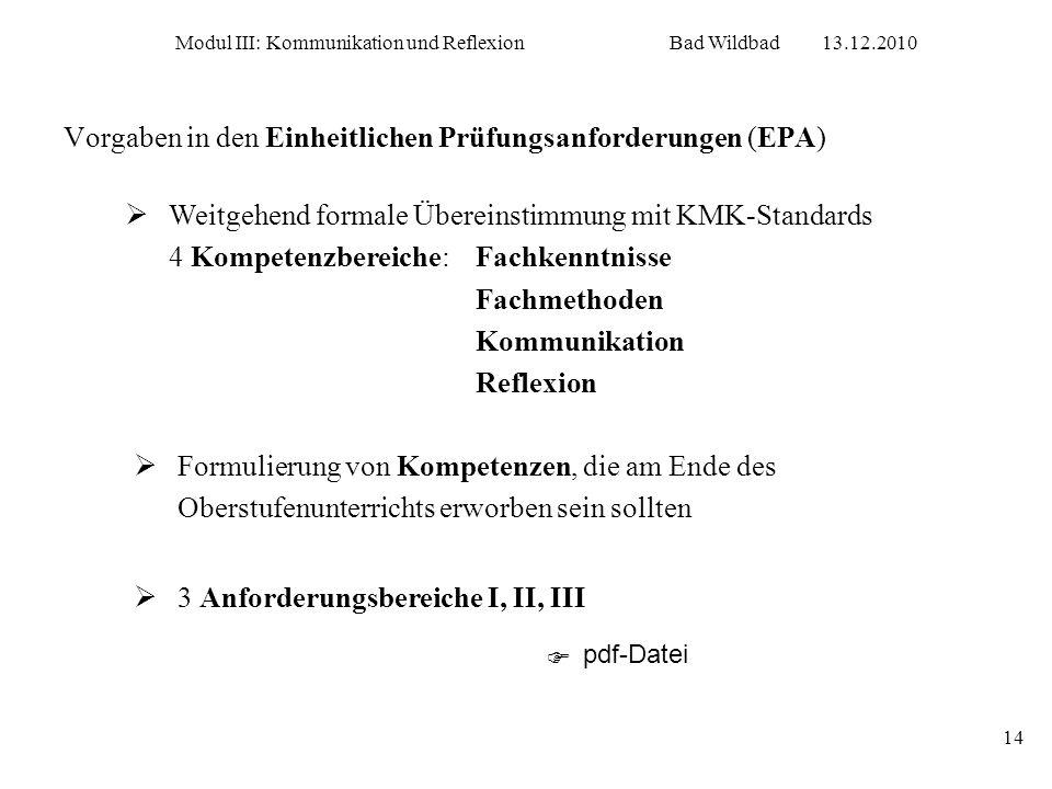 Modul III: Kommunikation und ReflexionBad Wildbad13.12.2010 14 Vorgaben in den Einheitlichen Prüfungsanforderungen (EPA) Weitgehend formale Übereinsti