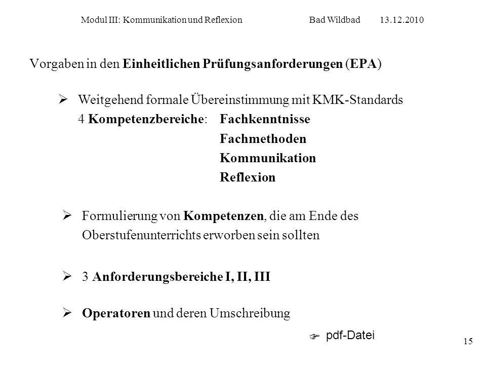 Modul III: Kommunikation und ReflexionBad Wildbad13.12.2010 15 Vorgaben in den Einheitlichen Prüfungsanforderungen (EPA) Weitgehend formale Übereinsti