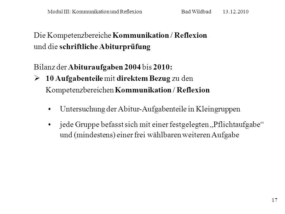 Modul III: Kommunikation und ReflexionBad Wildbad13.12.2010 17 Die Kompetenzbereiche Kommunikation / Reflexion und die schriftliche Abiturprüfung Bila
