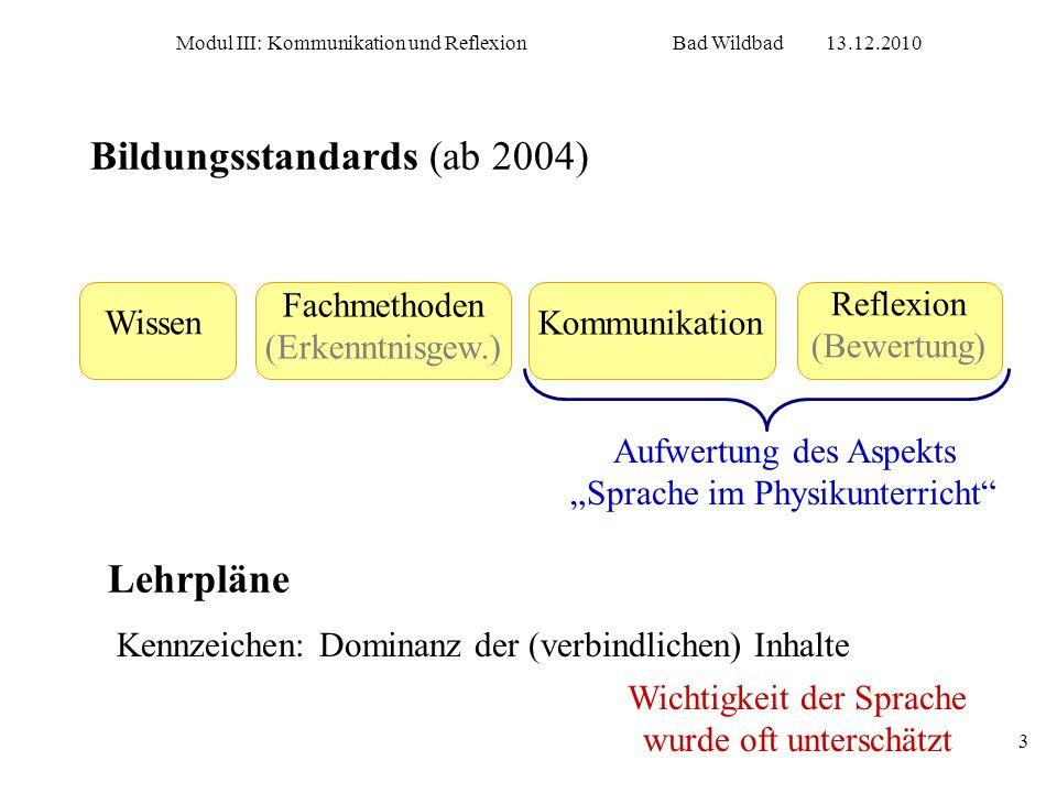 Modul III: Kommunikation und ReflexionBad Wildbad13.12.2010 3 Bildungsstandards (ab 2004) Fachmethoden (Erkenntnisgew.) Kommunikation Reflexion (Bewer