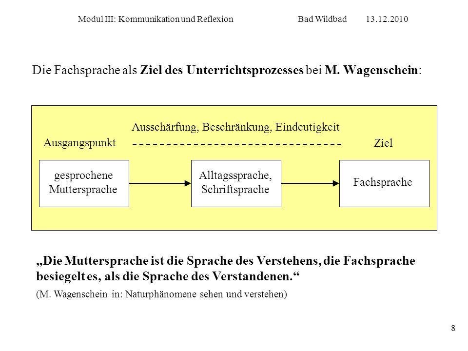 Modul III: Kommunikation und ReflexionBad Wildbad13.12.2010 8 Die Fachsprache als Ziel des Unterrichtsprozesses bei M. Wagenschein: Die Muttersprache