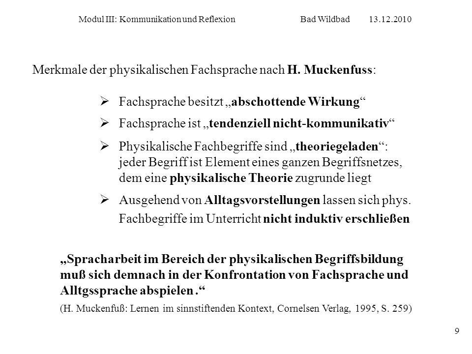 Modul III: Kommunikation und ReflexionBad Wildbad13.12.2010 9 Merkmale der physikalischen Fachsprache nach H. Muckenfuss: Spracharbeit im Bereich der
