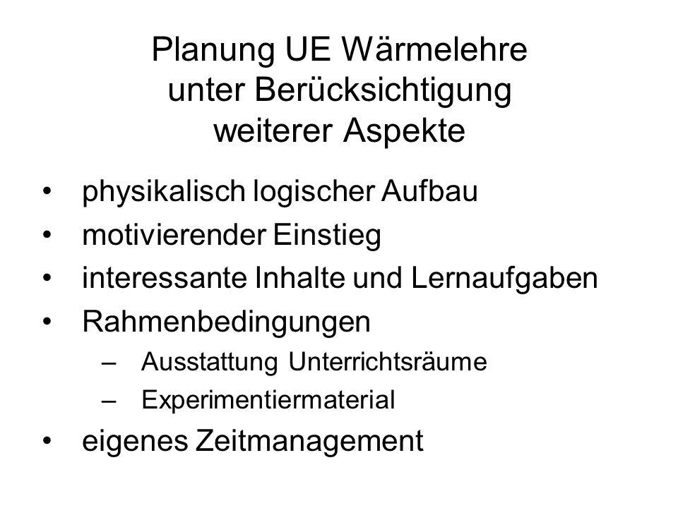 Planung UE Wärmelehre unter Berücksichtigung weiterer Aspekte physikalisch logischer Aufbau motivierender Einstieg interessante Inhalte und Lernaufgab