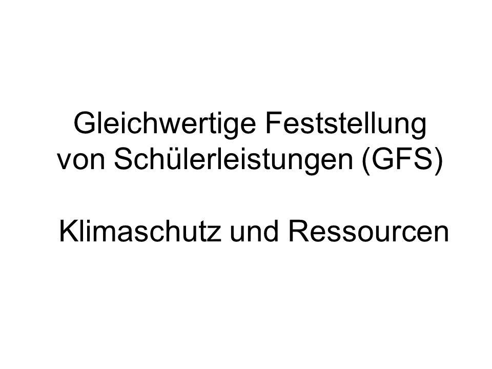 Gleichwertige Feststellung von Schülerleistungen (GFS) Klimaschutz und Ressourcen