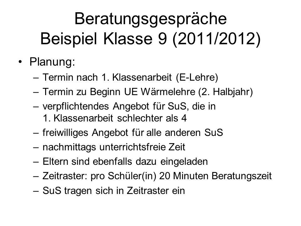 Beratungsgespräche Beispiel Klasse 9 (2011/2012) Planung: –Termin nach 1. Klassenarbeit (E-Lehre) –Termin zu Beginn UE Wärmelehre (2. Halbjahr) –verpf