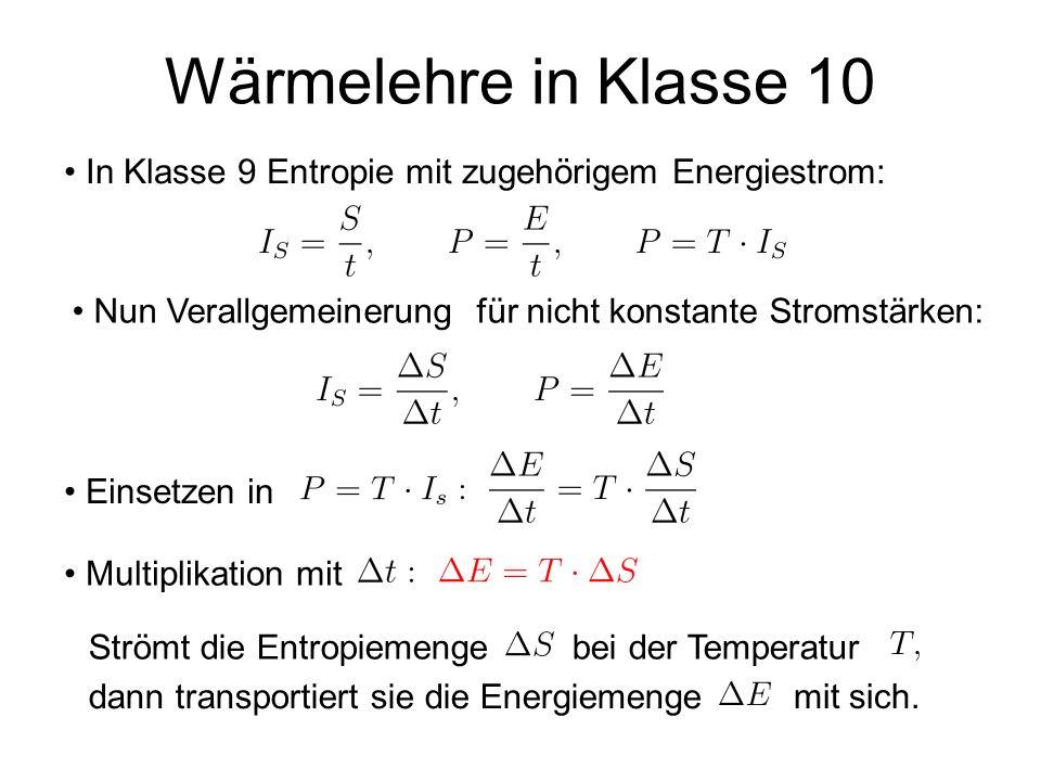 Wärmelehre in Klasse 10 Nun Verallgemeinerung für nicht konstante Stromstärken: In Klasse 9 Entropie mit zugehörigem Energiestrom: Einsetzen in Multip