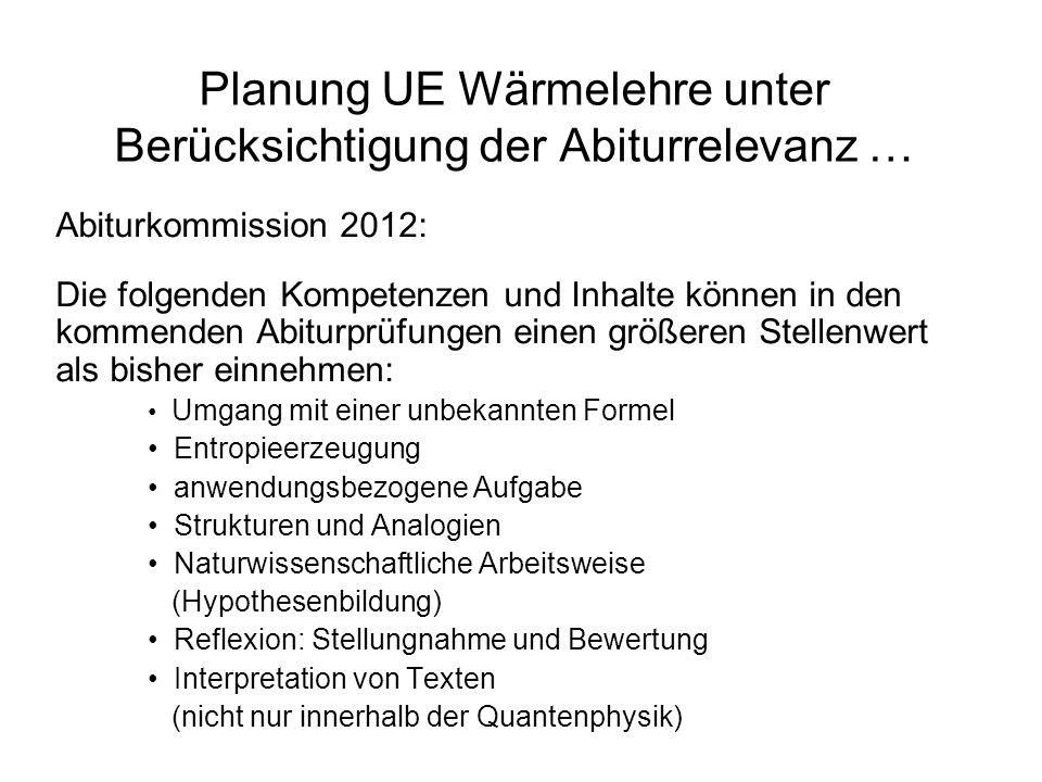 Planung UE Wärmelehre unter Berücksichtigung der Abiturrelevanz … Abiturkommission 2012: Die folgenden Kompetenzen und Inhalte können in den kommenden