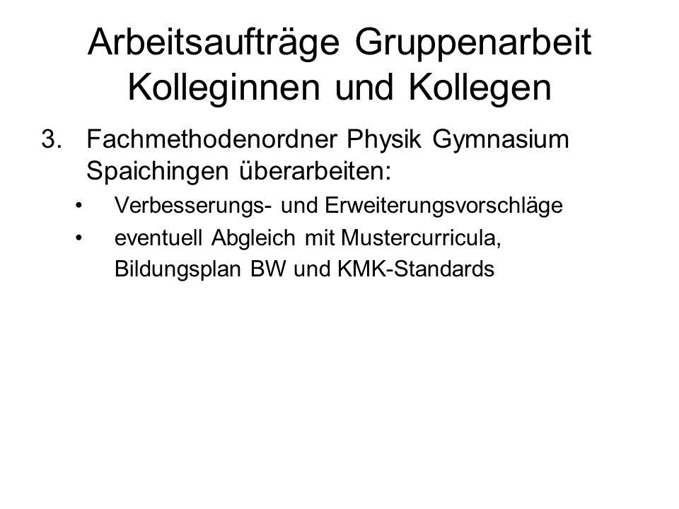 Arbeitsaufträge Gruppenarbeit Kolleginnen und Kollegen 3.Fachmethodenordner Physik Gymnasium Spaichingen überarbeiten: Verbesserungs- und Erweiterungs