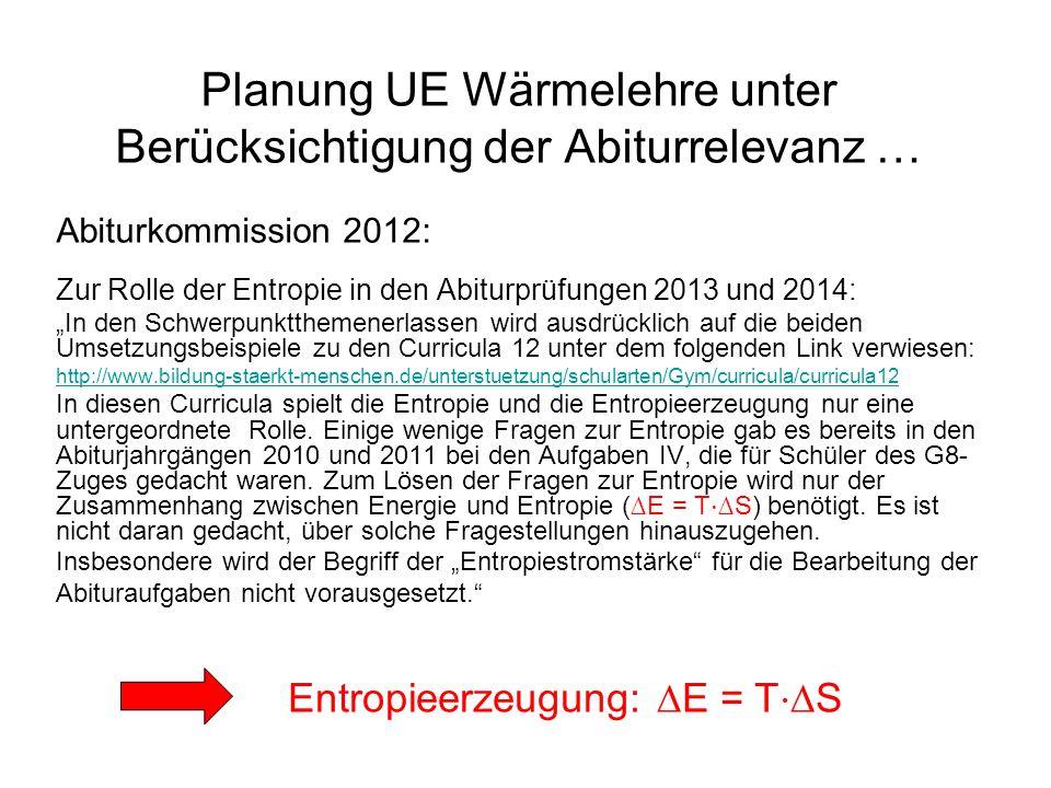 Planung UE Wärmelehre unter Berücksichtigung der Abiturrelevanz … Abiturkommission 2012: Zur Rolle der Entropie in den Abiturprüfungen 2013 und 2014: