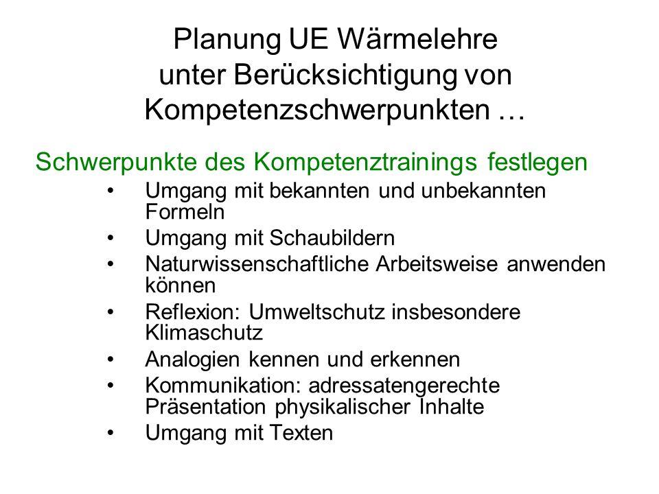 Planung UE Wärmelehre unter Berücksichtigung von Kompetenzschwerpunkten … Schwerpunkte des Kompetenztrainings festlegen Umgang mit bekannten und unbek