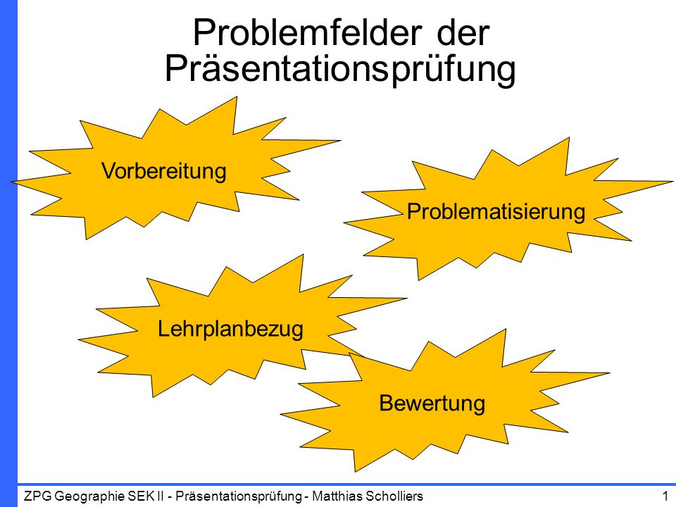 ZPG Geographie SEK II - Präsentationsprüfung - Matthias Scholliers Vorbereitung Lehrplanbezug Problematisierung Bewertung Problemfelder der Präsentati