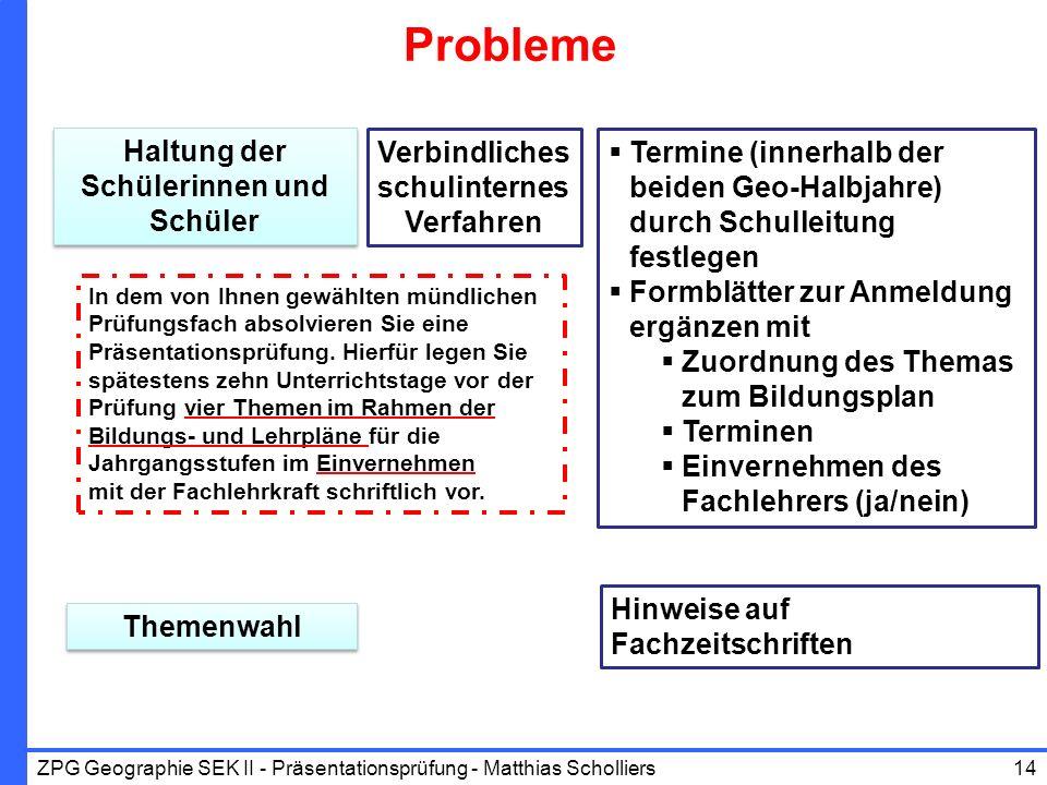 Probleme Haltung der Schülerinnen und Schüler Themenwahl Verbindliches schulinternes Verfahren Termine (innerhalb der beiden Geo-Halbjahre) durch Schu