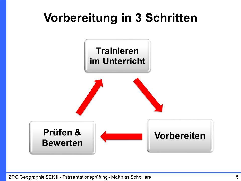 Vorbereiten Prüfen & Bewerten Trainieren im Unterricht Vorbereitung in 3 Schritten ZPG Geographie SEK II - Präsentationsprüfung - Matthias Scholliers5