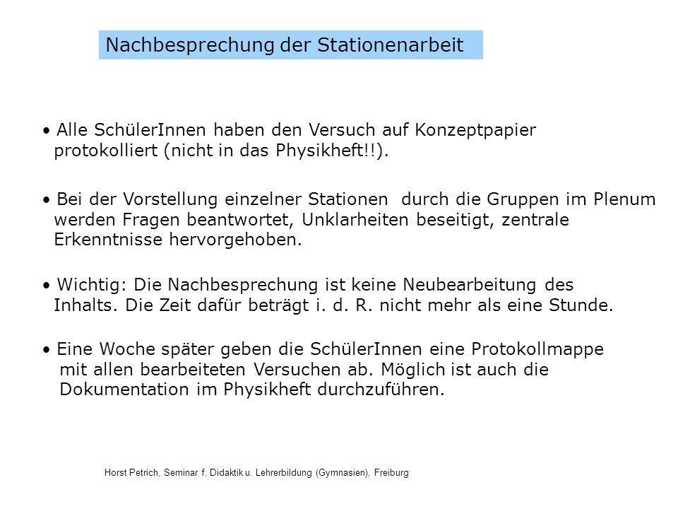 Horst Petrich, Seminar f. Didaktik u. Lehrerbildung (Gymnasien), Freiburg Nachbesprechung der Stationenarbeit Alle SchülerInnen haben den Versuch auf