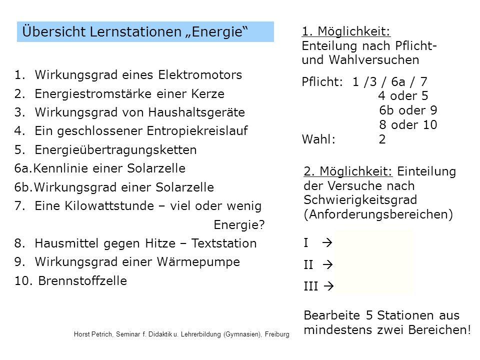 Horst Petrich, Seminar f. Didaktik u. Lehrerbildung (Gymnasien), Freiburg Übersicht Lernstationen Energie 1. Wirkungsgrad eines Elektromotors 2. Energ