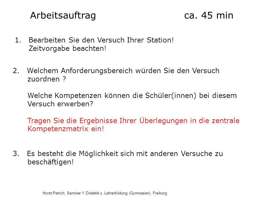Horst Petrich, Seminar f. Didaktik u. Lehrerbildung (Gymnasien), Freiburg Arbeitsauftrag ca. 45 min 1.Bearbeiten Sie den Versuch Ihrer Station! Zeitvo
