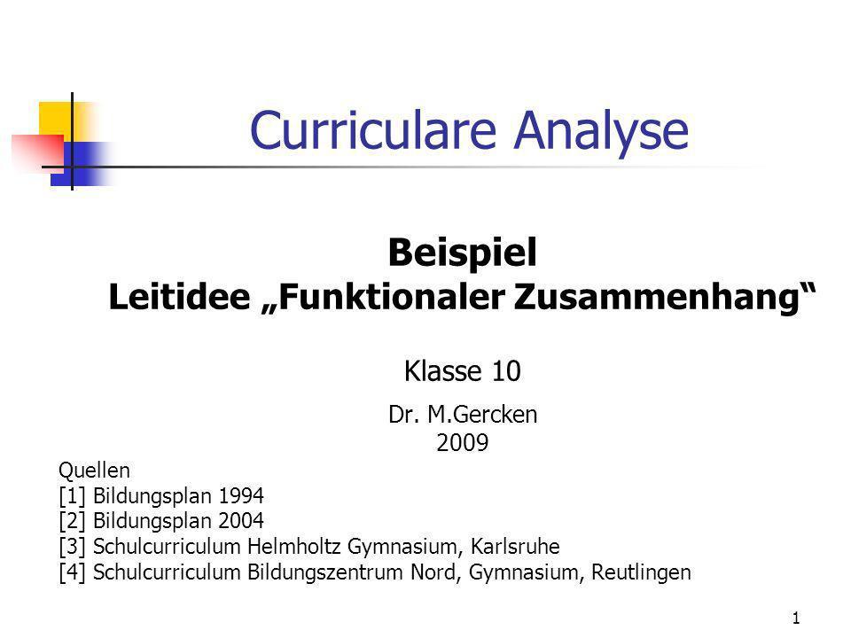 Curriculare Analyse Beispiel Leitidee Funktionaler Zusammenhang Klasse 10 Dr. M.Gercken 2009 Quellen [1] Bildungsplan 1994 [2] Bildungsplan 2004 [3] S