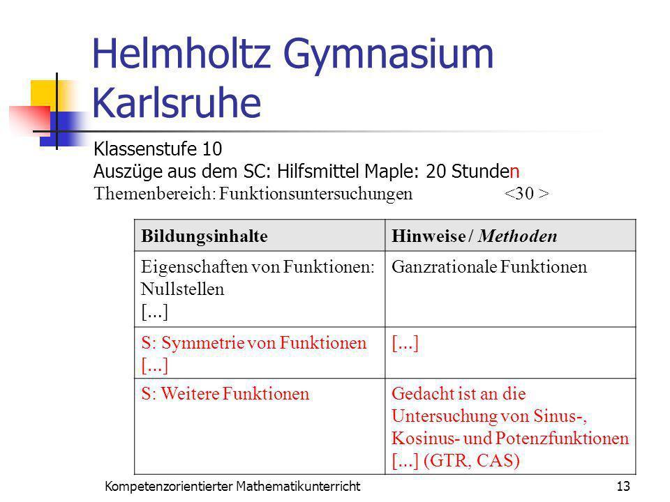Helmholtz Gymnasium Karlsruhe 13Kompetenzorientierter Mathematikunterricht BildungsinhalteHinweise / Methoden Eigenschaften von Funktionen: Nullstelle