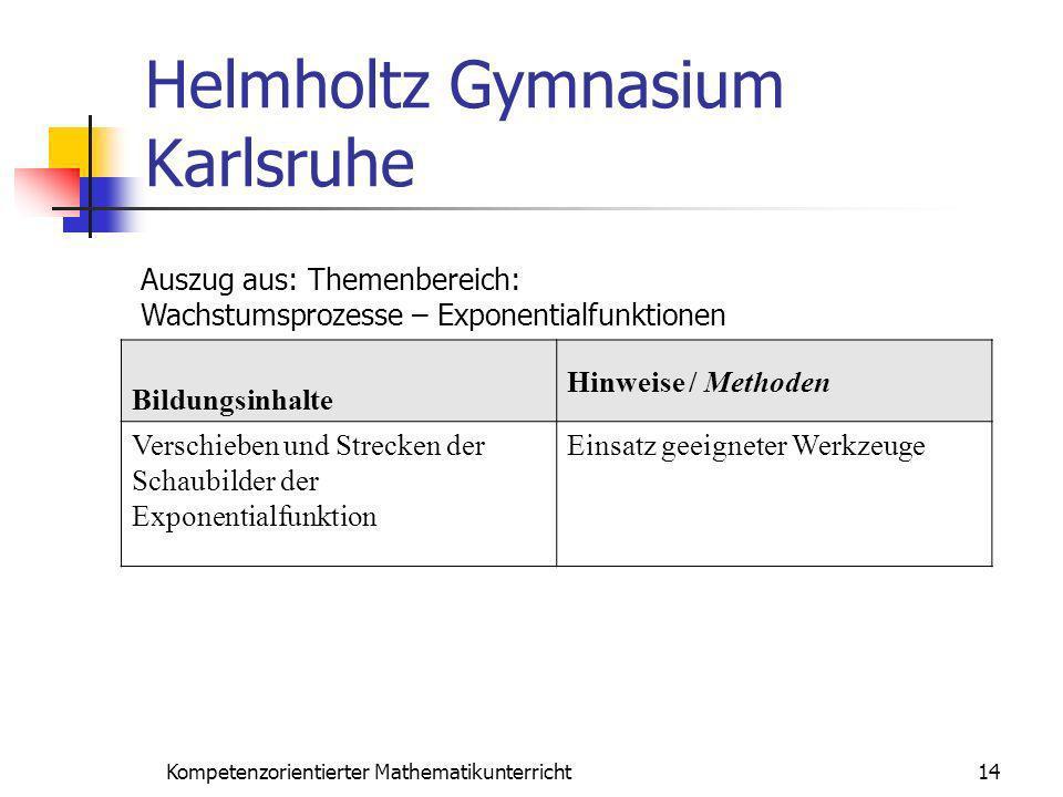 Helmholtz Gymnasium Karlsruhe 14Kompetenzorientierter Mathematikunterricht Auszug aus: Themenbereich: Wachstumsprozesse – Exponentialfunktionen Bildun