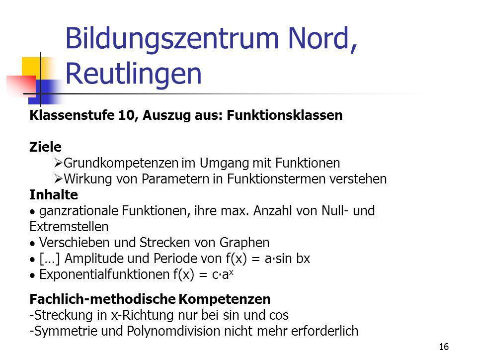 Bildungszentrum Nord, Reutlingen 16 Klassenstufe 10, Auszug aus: Funktionsklassen Ziele Grundkompetenzen im Umgang mit Funktionen Wirkung von Paramete