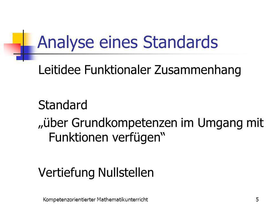 Analyse eines Standards Leitidee Funktionaler Zusammenhang Standard über Grundkompetenzen im Umgang mit Funktionen verfügen Vertiefung Nullstellen 5Ko